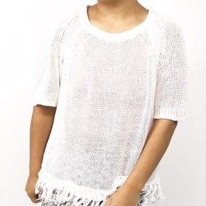 J Crew Knit Frayed Hem | White | Short Sleeves Top